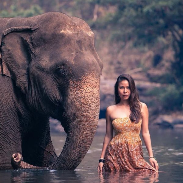 a woman and an asian elephant