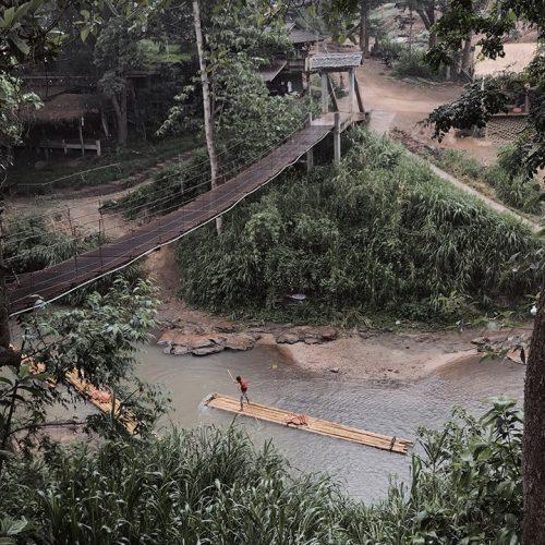 bamboo raft in mae wang river