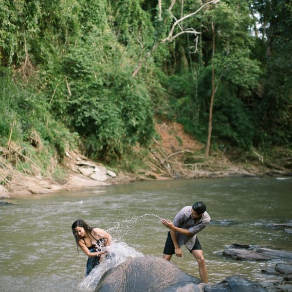 newly weds bathe an elephant